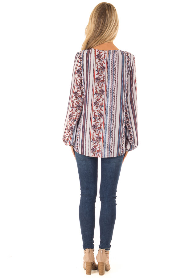 Cornflower Blue Multi Print Long Sleeve Top with Tie back full body