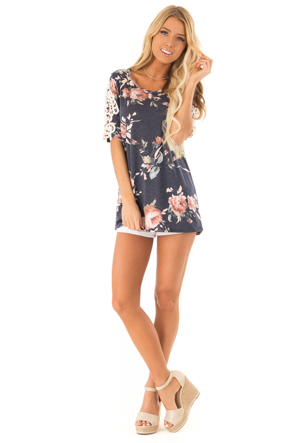 Navy Floral Half Sleeve Top with Crochet Lace Detail front full body