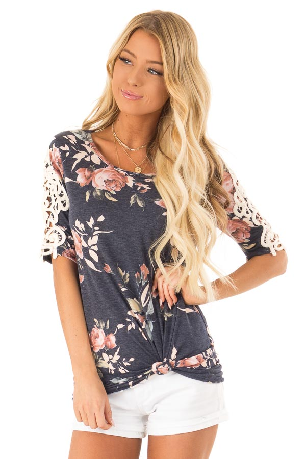 Navy Floral Half Sleeve Top with Crochet Lace Detail front close up