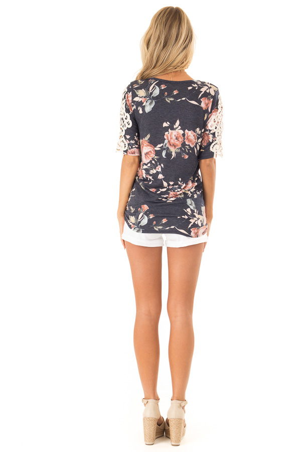Navy Floral Half Sleeve Top with Crochet Lace Detail back full body