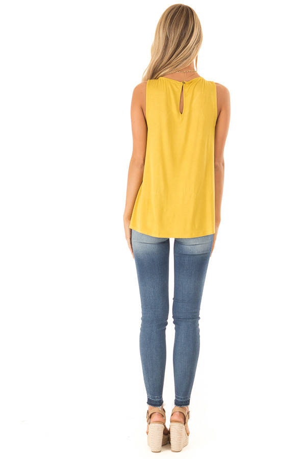 Mustard Floral Tank with Navy and Sheer Lace Detail back full body