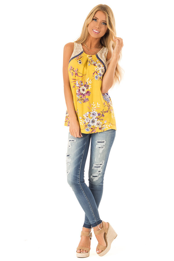 Mustard Floral Tank with Navy and Sheer Lace Detail front full body