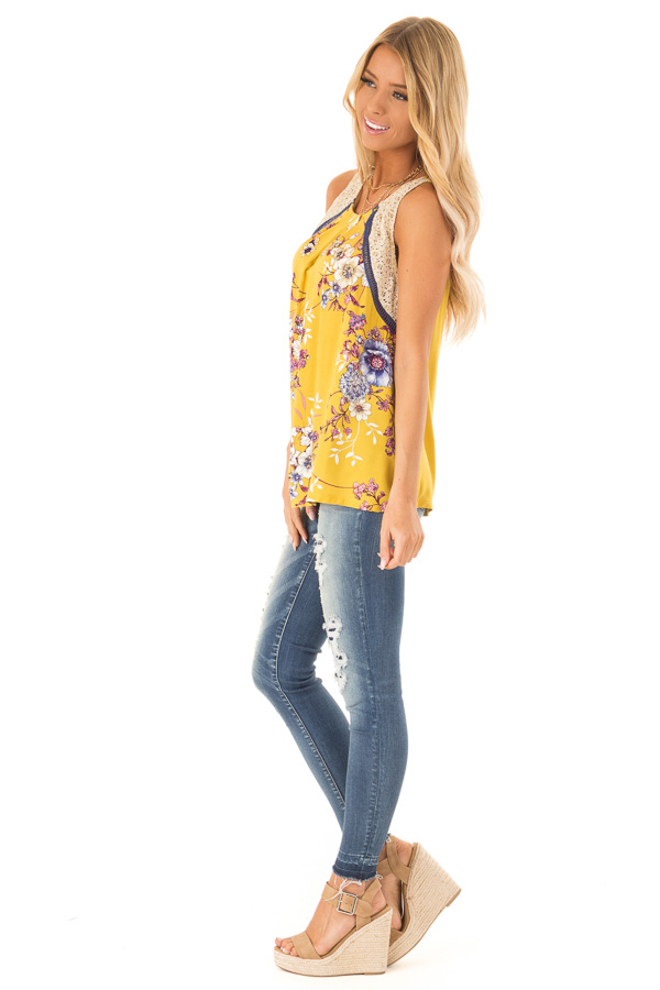 Mustard Floral Tank with Navy and Sheer Lace Detail side full body