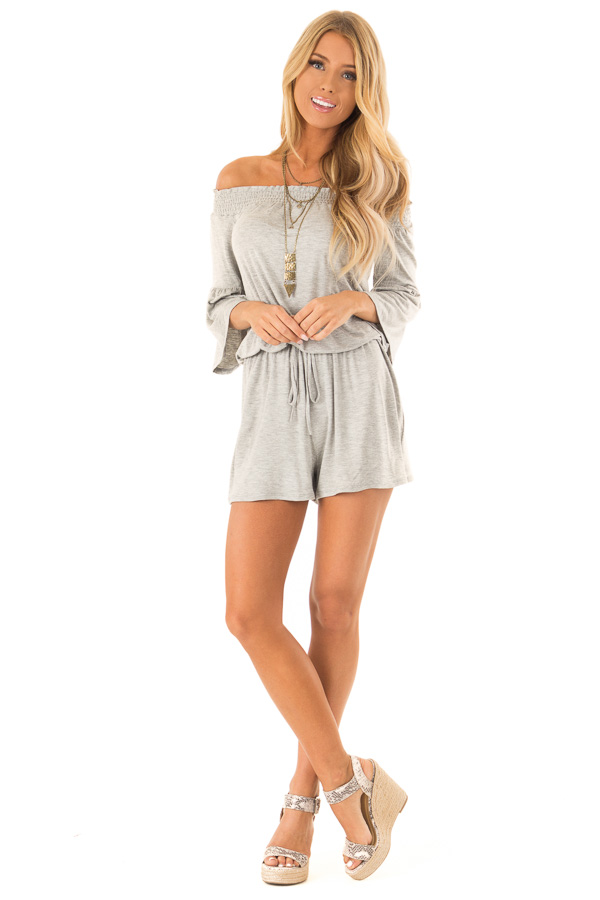 Heather Grey Off the Shoulder Romper with Front Tie front full body