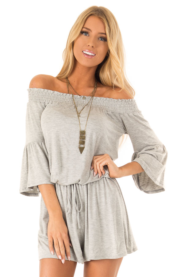 Heather Grey Off the Shoulder Romper with Front Tie front close up