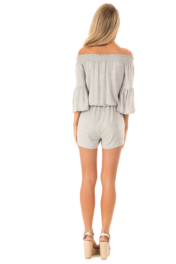 Heather Grey Off the Shoulder Romper with Front Tie back full body