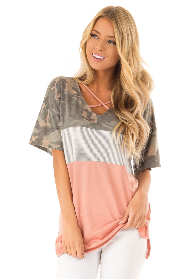 Camo Color Block Short Sleeve Top with Criss Cross Detail front close up