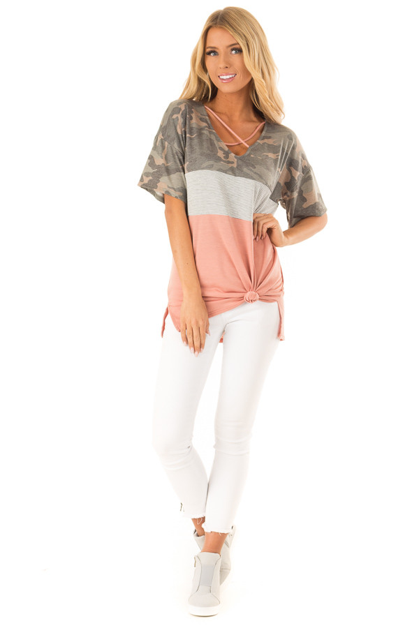 Camo Color Block Short Sleeve Top with Criss Cross Detail front full body