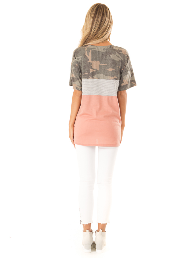 Camo Color Block Short Sleeve Top with Criss Cross Detail back full body