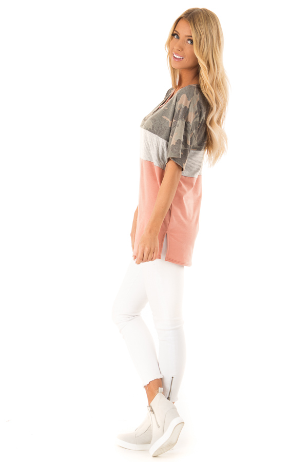 Camo Color Block Short Sleeve Top with Criss Cross Detail side full body