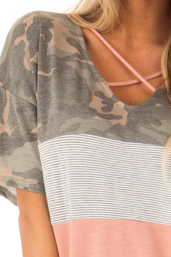 Camo Color Block Short Sleeve Top with Criss Cross Detail detail