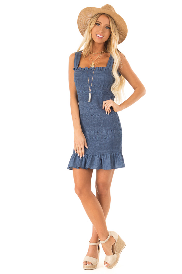 Denim Smocking Wide Strap Mini Dress with Ruffle Detail front full body