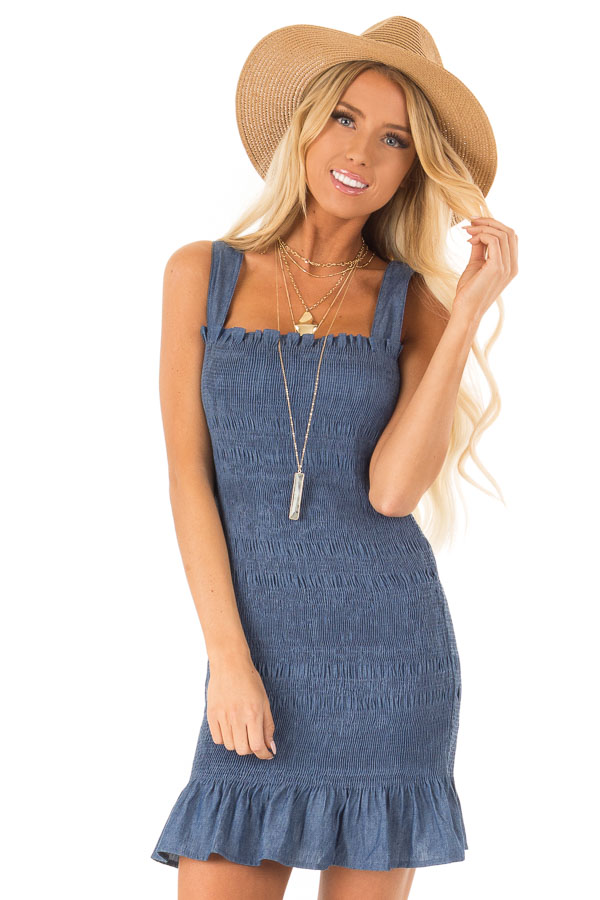 Denim Smocking Wide Strap Mini Dress with Ruffle Detail front close up