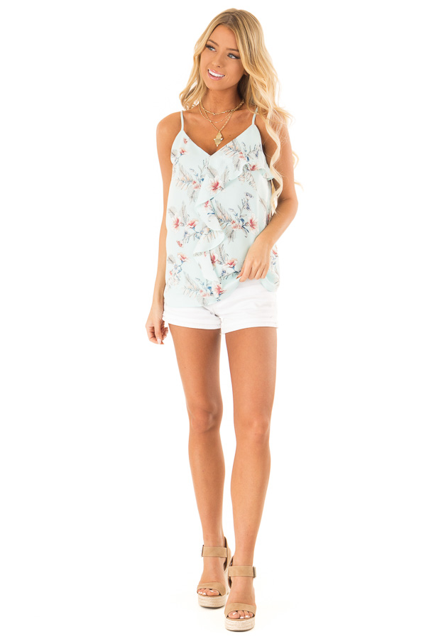 Baby Blue Floral Print Asymmetrical Ruffle Cami V Neck Top front full body