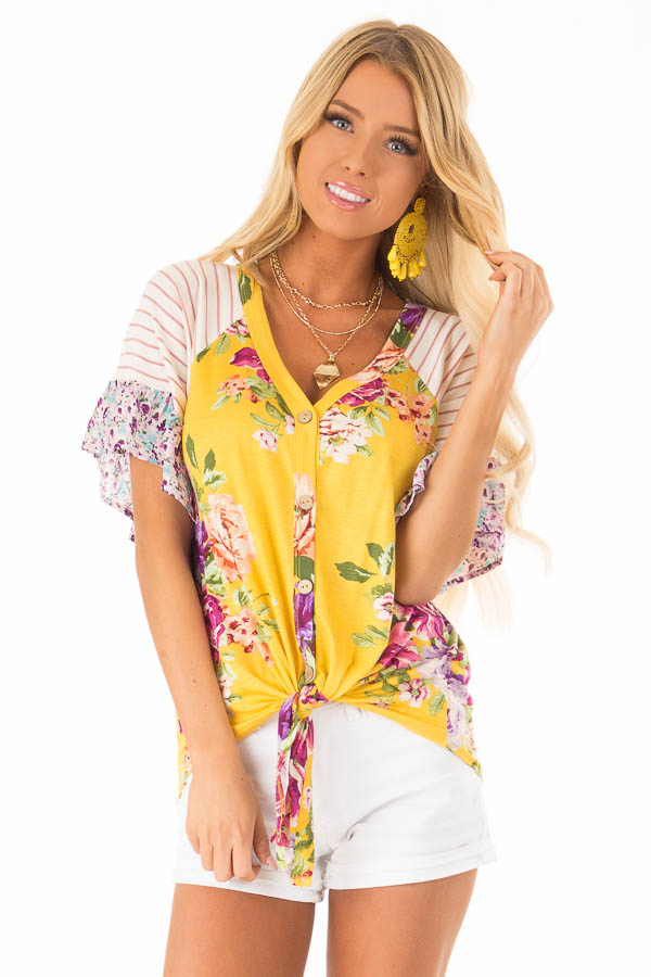 Mustard Floral Multi Print Short Sleeve Top with Front Tie front close up