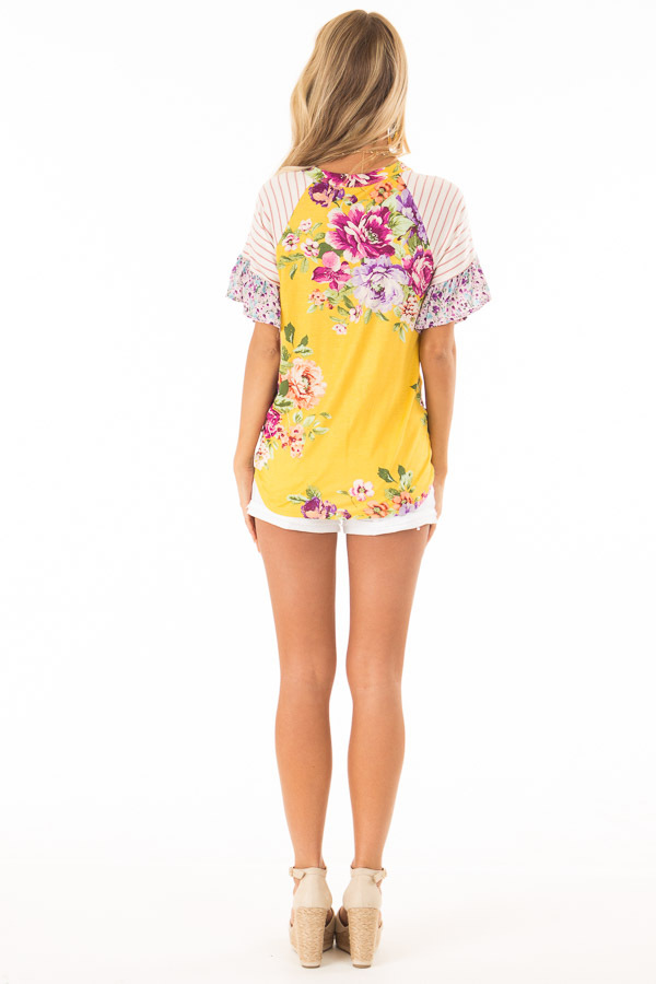 Mustard Floral Multi Print Short Sleeve Top with Front Tie back full body
