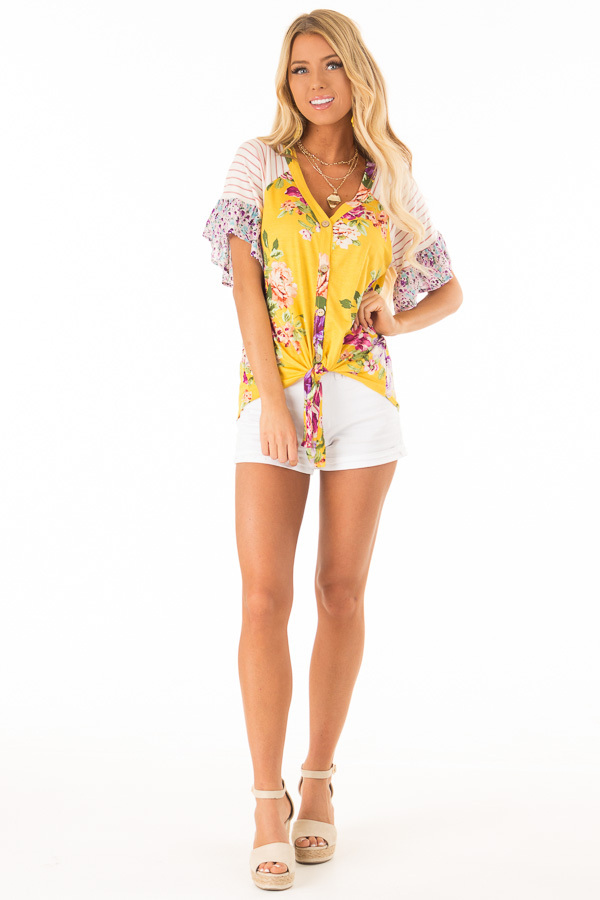 Mustard Floral Multi Print Short Sleeve Top with Front Tie front full body