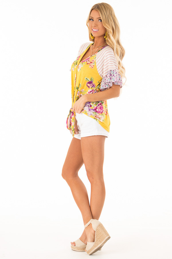 Mustard Floral Multi Print Short Sleeve Top with Front Tie side full body