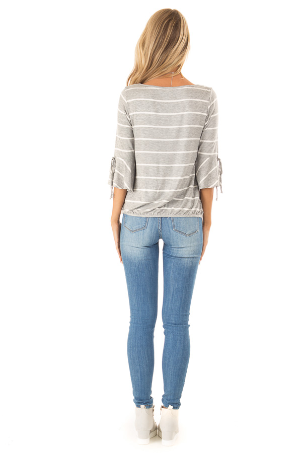 Heather Grey and White Stripe Surplice Top with Bell Sleeves back full body
