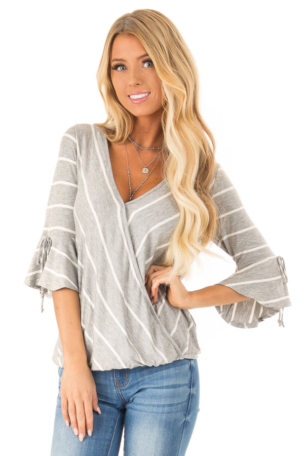 Heather Grey and White Stripe Surplice Top with Bell Sleeves front close up