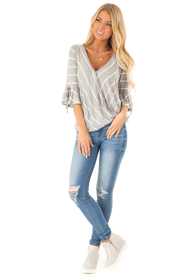Heather Grey and White Stripe Surplice Top with Bell Sleeves front full body