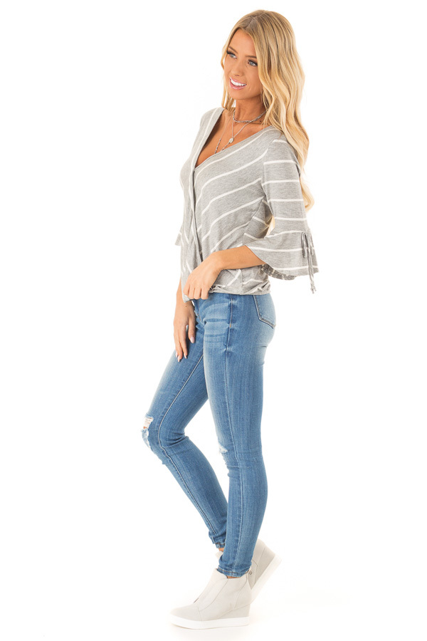 Heather Grey and White Stripe Surplice Top with Bell Sleeves side full body
