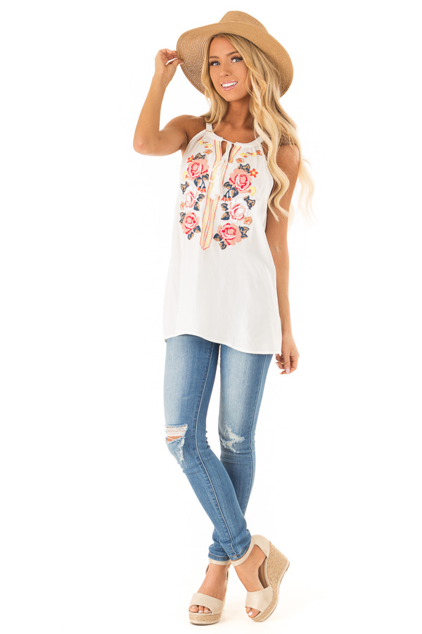 Coconut White Embroidered Tank Top with Tassel Tie Details front full body