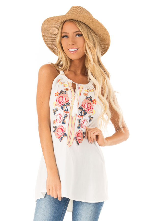 Coconut White Embroidered Tank Top with Tassel Tie Details front close up