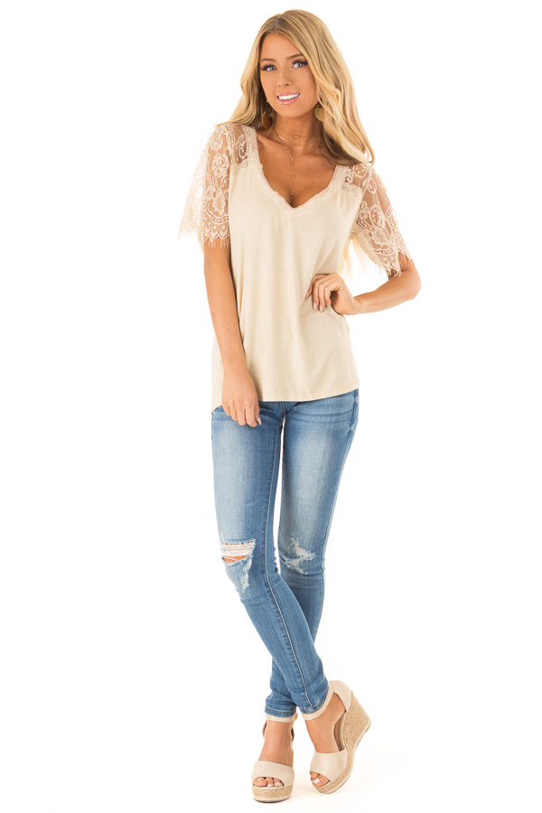 Honey Gold V Neck Top with Sheer Lace Sleeves and Fringe front full body