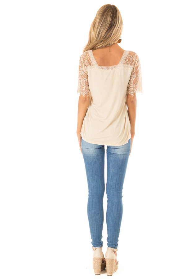 Honey Gold V Neck Top with Sheer Lace Sleeves and Fringe back full body