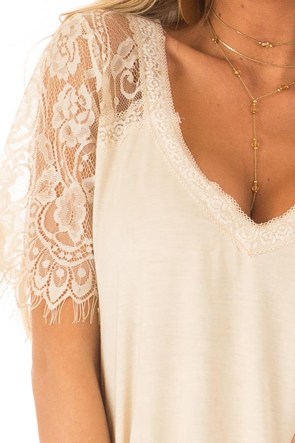Honey Gold V Neck Top with Sheer Lace Sleeves and Fringe detail