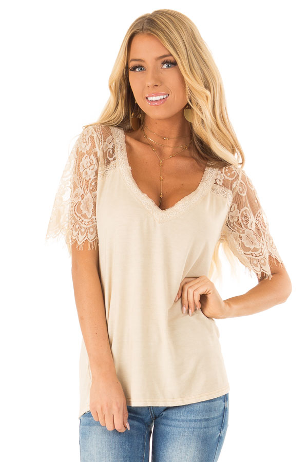 Honey Gold V Neck Top with Sheer Lace Sleeves and Fringe front close up