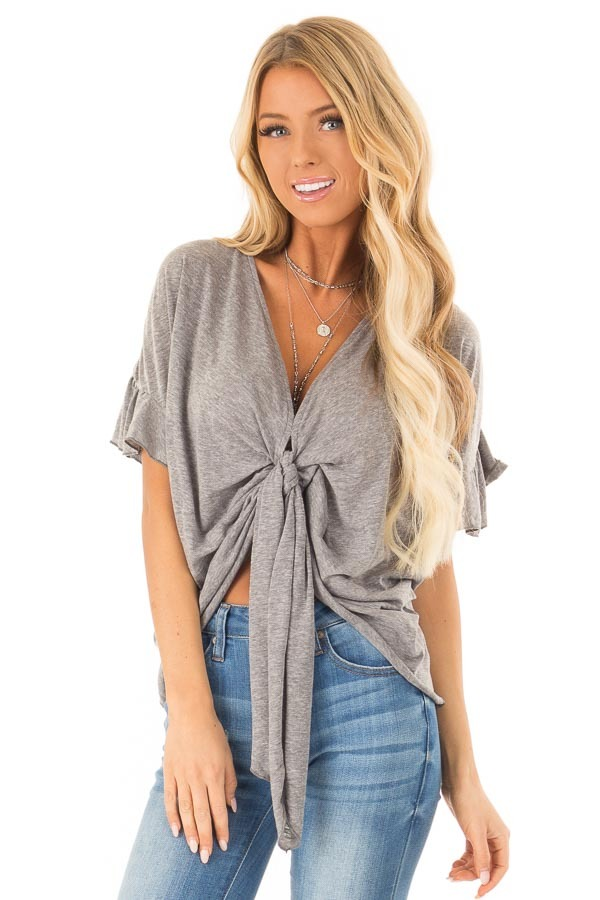 Heather Charcoal Short Sleeve Top with Front Tie Detail front close up