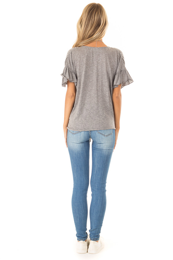 Heather Charcoal Short Sleeve Top with Front Tie Detail back full body