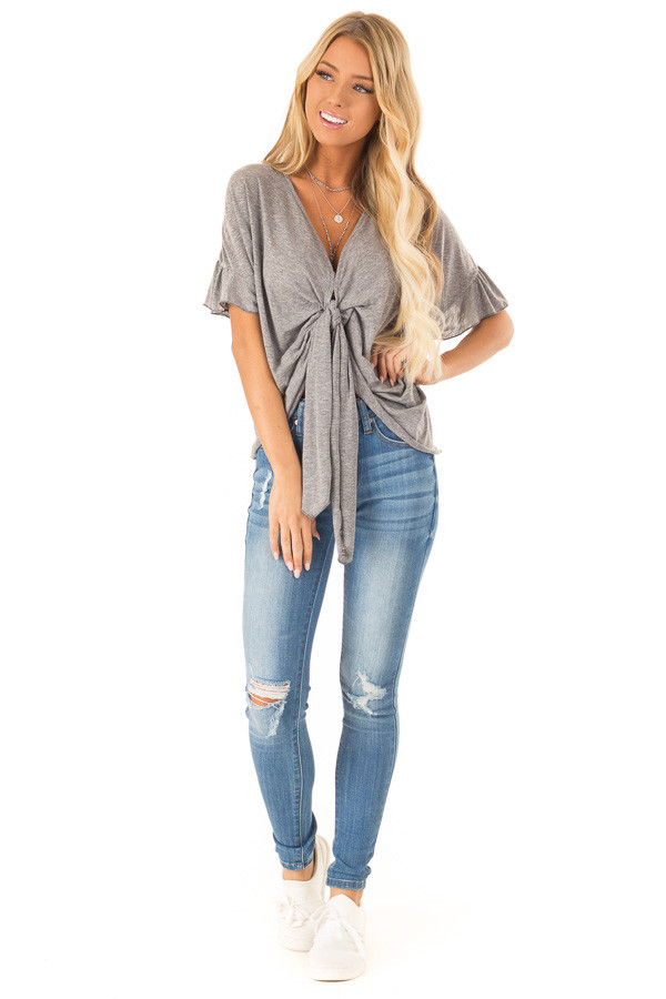 Heather Charcoal Short Sleeve Top with Front Tie Detail front full body