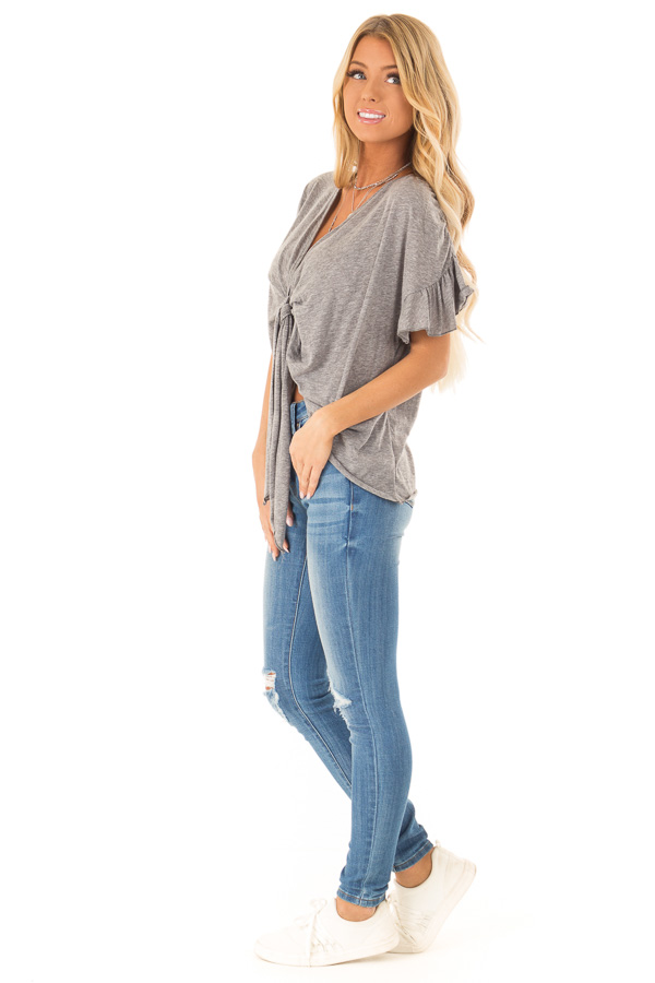 Heather Charcoal Short Sleeve Top with Front Tie Detail side full body