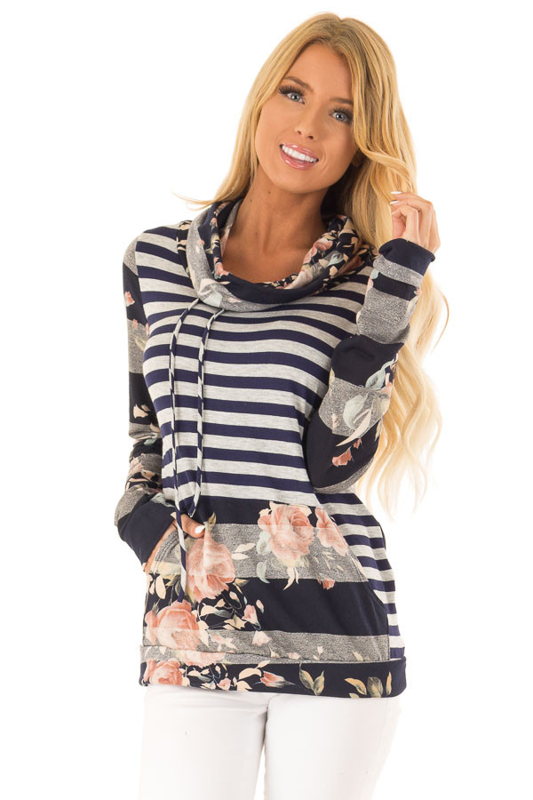 10af8e76040a1d Navy and Heather Grey Floral Long Sleeve Cowl Neck Top - Lime Lush ...