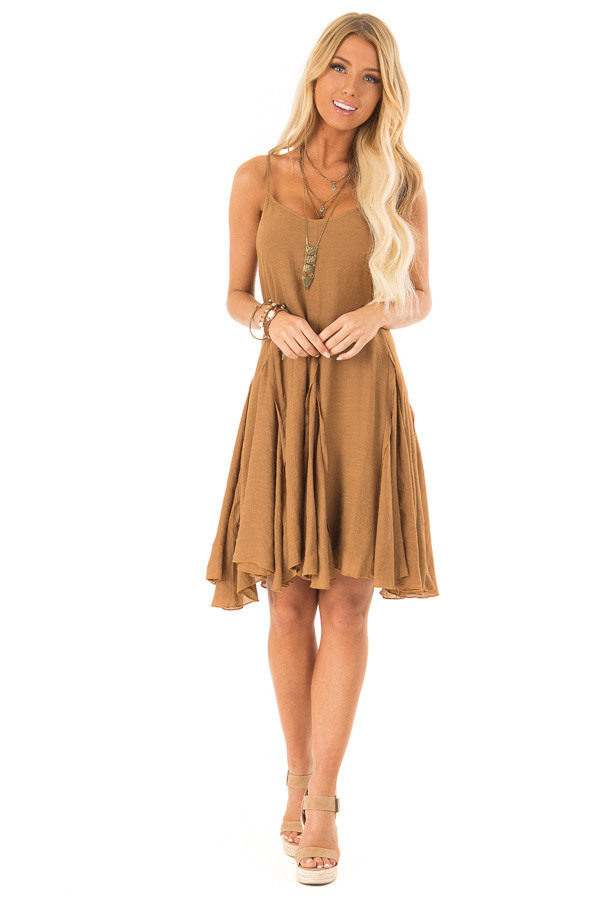 Caramel Sleeveless V Neck Frilly Flare Mini Dress front full body
