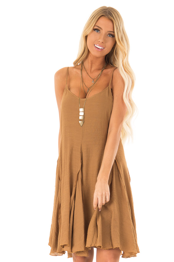 Caramel Sleeveless V Neck Frilly Flare Mini Dress front close up