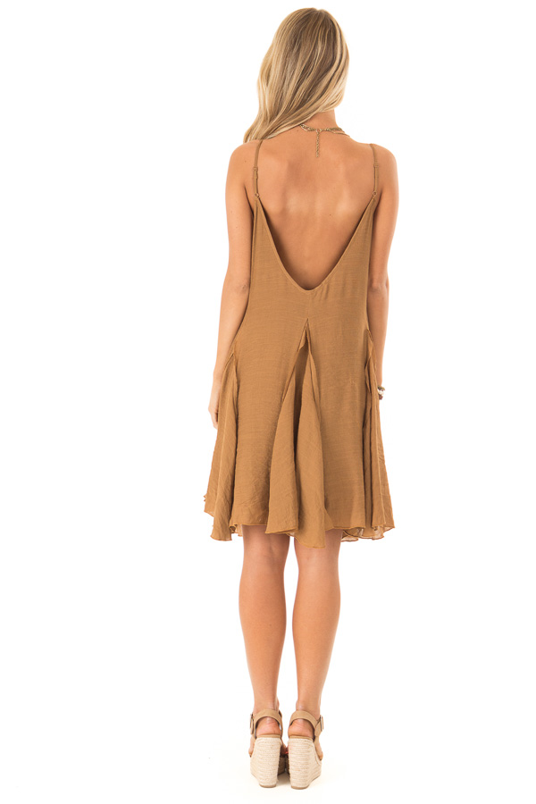 Caramel Sleeveless V Neck Frilly Flare Mini Dress back full body