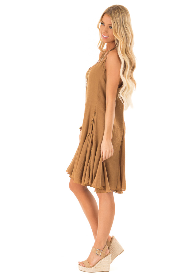 Caramel Sleeveless V Neck Frilly Flare Mini Dress side full body