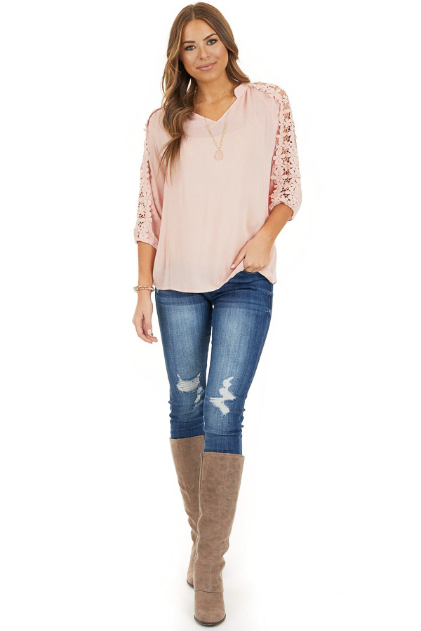 Baby Pink Long Sleeve V Neck Top with Floral Lace Detail front full body
