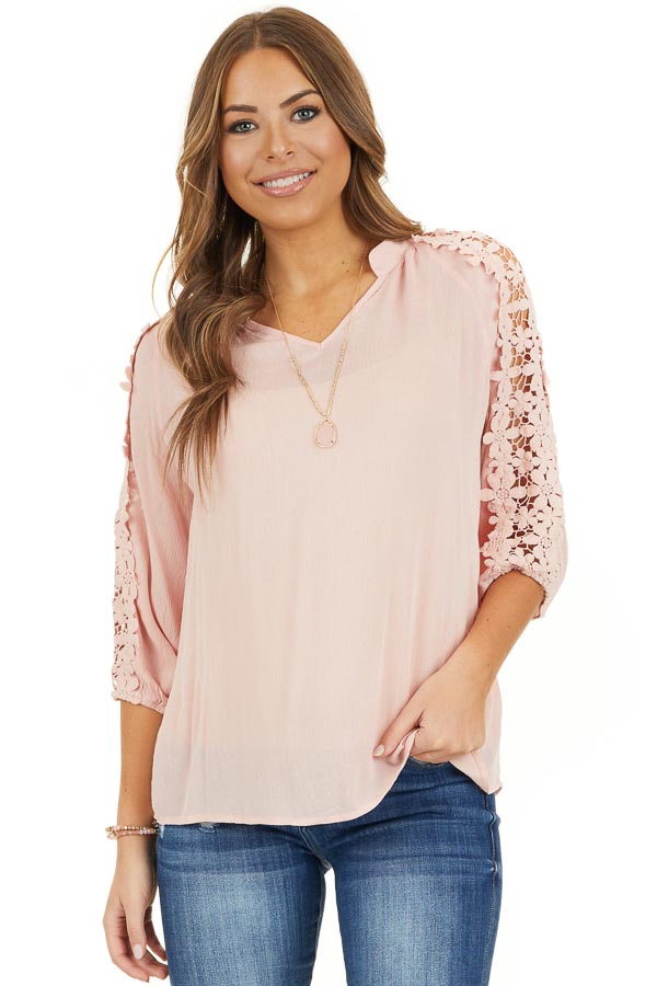 Baby Pink Long Sleeve V Neck Top with Floral Lace Detail front close up
