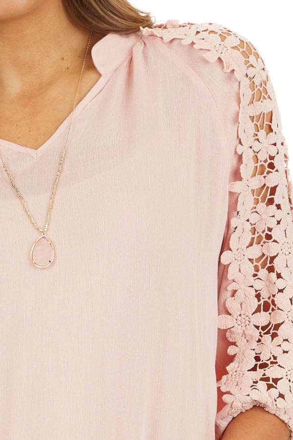 Baby Pink Long Sleeve V Neck Top with Floral Lace Detail detail