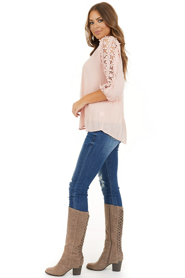 Baby Pink Long Sleeve V Neck Top with Floral Lace Detail side full body