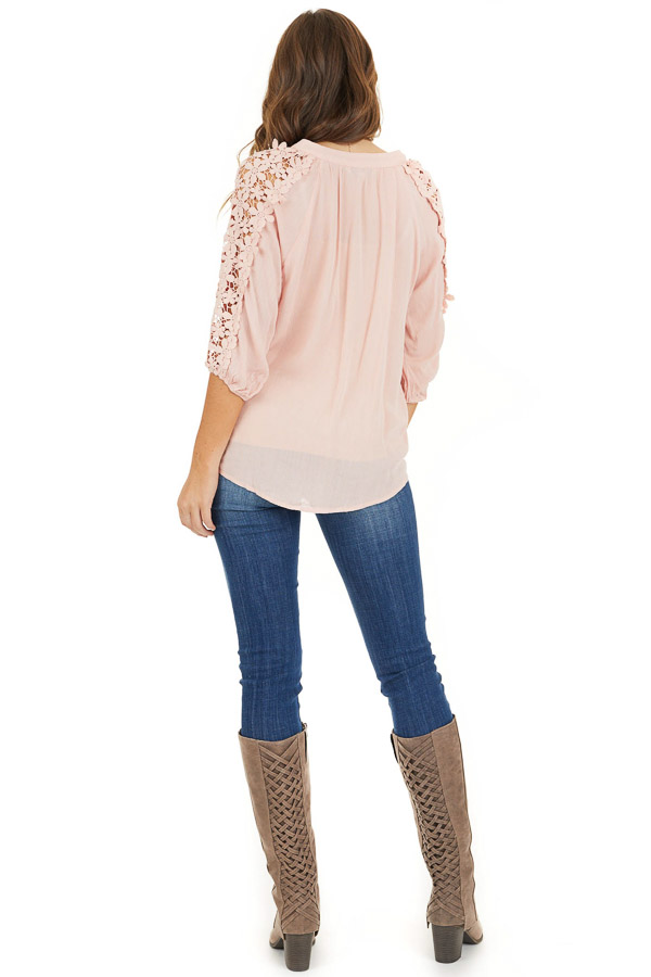 Baby Pink Long Sleeve V Neck Top with Floral Lace Detail back full body