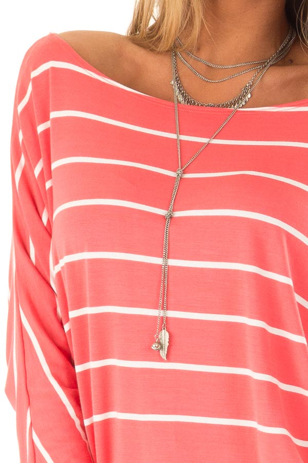 Coral and Ivory Striped Long Sleeve Dolman Top detail