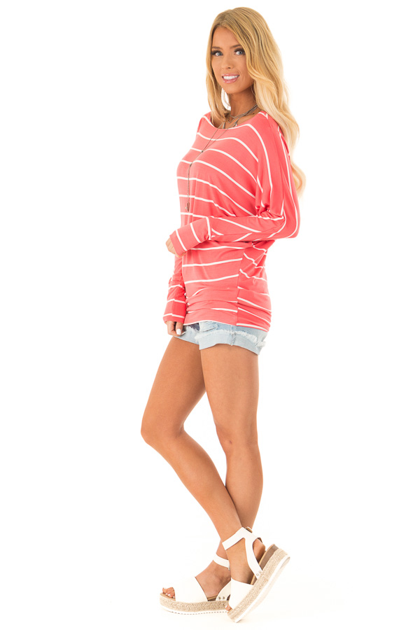 Coral and Ivory Striped Long Sleeve Dolman Top side full body