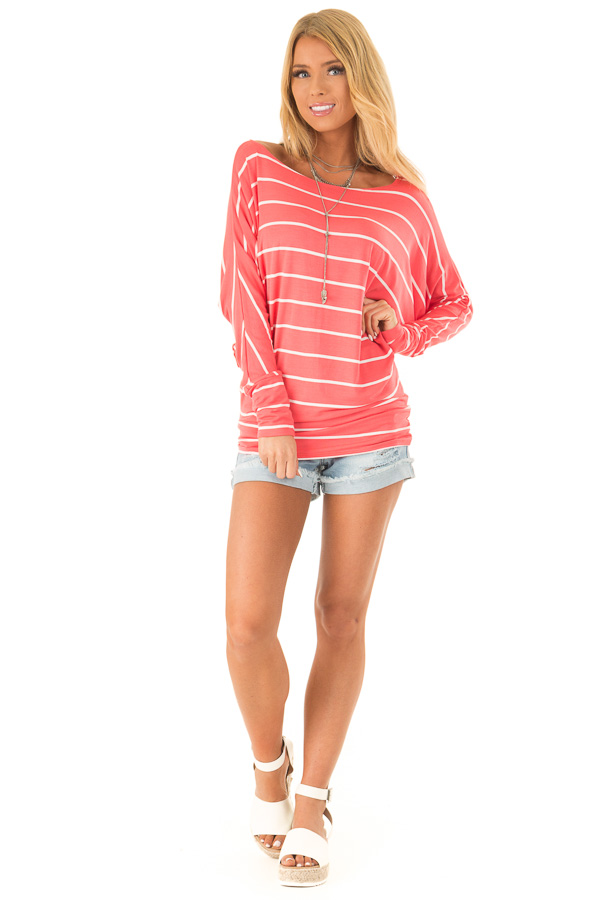 Coral and Ivory Striped Long Sleeve Dolman Top front full body