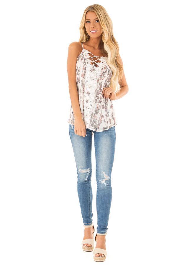 Ivory Sleeveless Criss Cross Floral Blouse with Lace Detail front full body